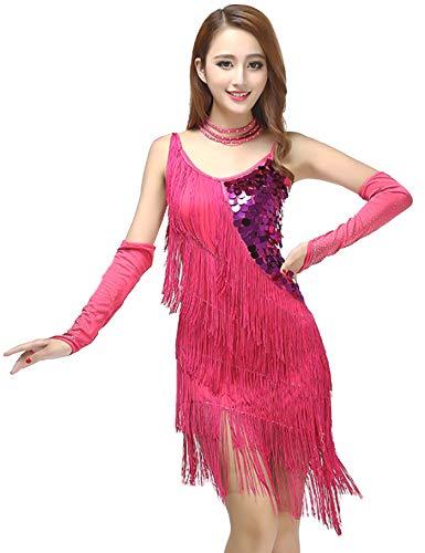 7cad3eef1 Grouptap Latin fringe pink tassel sequin dance skirt sling competition dress  wear for women salsa tango