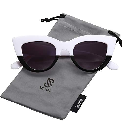 SOJOS Art und Weiseklassische Berühmtheits mutige starke Damen Katzenaugen Sonnenbrille SJ2939 mit Weiß Schwarz Rahmen/Grau Linse