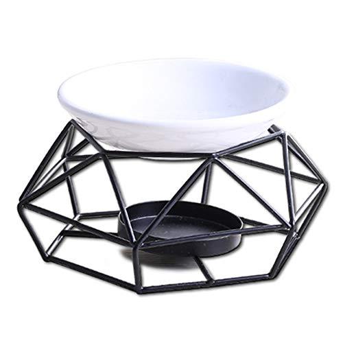GFULLOV Keramik-Teelichthalter für ätherische Öle Brenner Kerze Aroma Diffuser für Spa Yoga Meditation, Schwarz, 4.7' x 4.7' x 3.1'