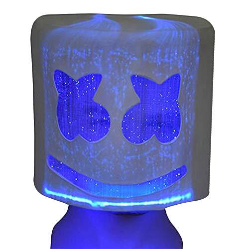 Kostüm Rock Sänger Punk - Horrorfun Marshmallow Helm Maske, DJ Music Festival Cosplay Kostüm Bar Musik Requisiten Neuheit Erwachsene Maske, mit LED-Licht, Stufenlos Dimmen