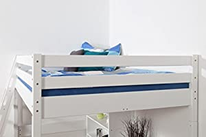 Children's bed / Loft Bunk bed Christoph solid beech wood, in a white paint finish, includes slatted frame - 140 x 200 cm