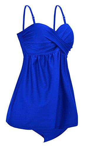 Aixy Donne Solid Color Ruched Tankini Top Bikini con Triangolo Slip Bottom Blu