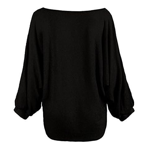 Vovotrade Pull Femme Hiver Aile de chauve-souris Pull à Larges (Size:XL, Noir)