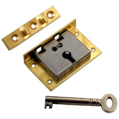 Curio China Schrank (S/2K Medium Messing Hälfte Einsteckschloss Brust Lock mit zwei Skelett Schlüssel + Gratis Bonus (Skelett Schlüssel Badge))