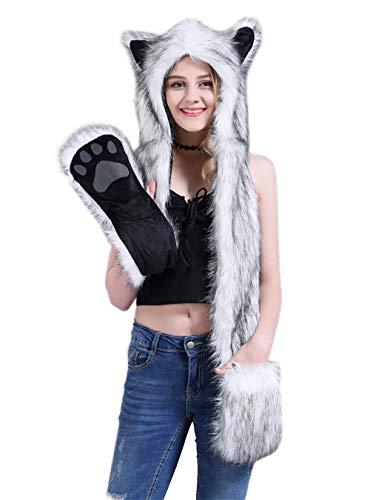 Kostüm Damen Warme - AIVTALK Damen Künstliches Fell Tiere Mütze Schal Winter Warm Kapuzenschal mit Ohrenschutz Handschuhe Fellmütze 3-in-1 Kapuze Allerheiligen Kostüme Plüsch Schals - Schwarz-Weiß