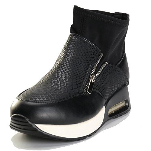 Sneakers Alexis Leroy In Esecuzione Con Sneaker Alta Da Donna Con Zip Nera