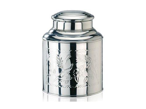 Boîte à thé avec couvercle dôme en étain avec opercule intérieur, couvercle en acier inoxydable avec motif en relief