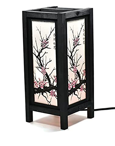 TZCS GROUP Decorative Lamp Thai Vintage Handmade ASIAN Oriental CHERRY BLOSSOM TREE Bedside Table Light (CHERRY