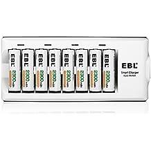 EBL 8 Stecker Akkuladegerät mit 8 Stück 2300mAh NI-MH wiederaufladbaren Mignon AA Batterien(8 Fach Ladegerät+8 AA Akkus)