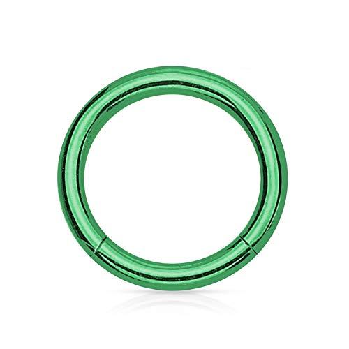 Daesar 1 PCS Körperschmuck Piercing Ring Fakes Edelstahl Poliert Hoop Form 10 MM Nasenpiercing Stecker Grün