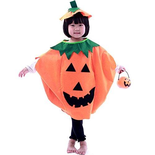 Frau Kinder Halloween Laterne Gesicht Kürbis Kostüm Shirt Kinderkleidung mit komischer Hut (S) (Halloween-kürbis-kostüme Kinder Für)
