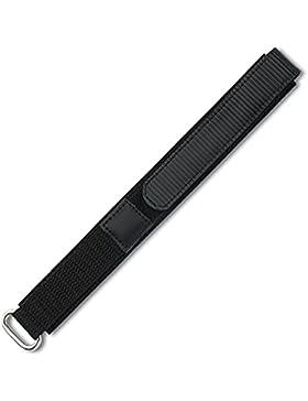Eichmüller Textil Uhrenarmband mit Klettverschluss schwarz 16mm