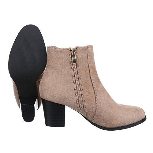 Damen Schuhe, F95, STIEFELETTEN STRETCH BOOTS Beige