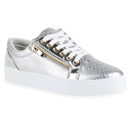 Damen Sneakers Lack Sneaker Low Glitzer Zipper Animal Prints Freizeit Sport| Damen Leder-Optik Schuhe 131970 Silber Weiss 40 | Flandell®