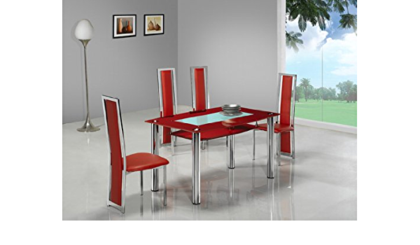 Big Compact Red Glass Dining Table With 4 G601 Chair Amazon Co Uk Kitchen Home