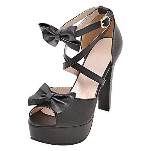 YE Damen Knöchelriemchen High Heel plateau Peep Toe sandalen mit Schleife und Blockabsatz Süß Schuhe Schwarz