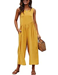 7570becbbd9 VEVESMUNDO Backless Strapped Summer Dungarees Women Cotton Sleeveless Jumpsuit  Playsuit Loose Trousers Suspender Pants Shift Overalls