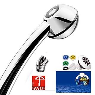 Duschkopf SwissClima BLACK COMFORT für kräftigen od. sanften Strahl, individuelle Wassermenge (4, 6, 8 od. 11 l/min statt 13-25 l), perfekten Strahlwinkel dank 45°-Winkelstück (zB kleine Kabine)