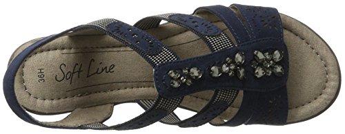 Softline 28163, Sandales Bout Ouvert Femme Bleu (Navy 805)