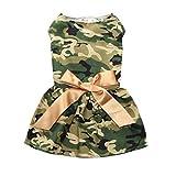 AMURAO Abito per Cani in Poliestere Estivo Camouflage Traspirante Abbigliamento per Animali da Compagnia Nodo di Prua Abito da Gatto Taglia XS-L