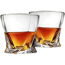 Cooko Twist Verres à whisky,Verres Cocktails Ultra-clarté, Sécurité au Lave Vaisselle, Cadeaux de Vin, lot de 2 (300ML/10.6 oz)
