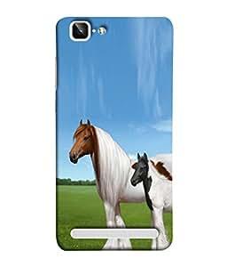 PrintVisa Grey Bay Horses 3D Hard Polycarbonate Designer Back Case Cover for Vivo X5Max :: Vivo X5 Max