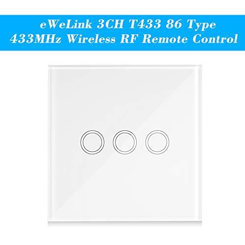 Extaum Smart Wall Touch Light Switch Wireless RF eWeLink 3CH T433 86 Portatile Supporta Tutti i Prodotti SONOFF RF 433MHz per Il Controllo della Luce Scale, 2 Gang