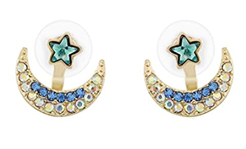 SaySure - Star Moon Full Crystal Rhinestone Stud Earrings