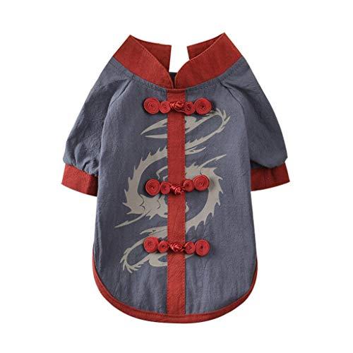 JKRTR Haustierkleidung 2019,Frühling und Sommer Kung Fu Shirt(Grau,XS)