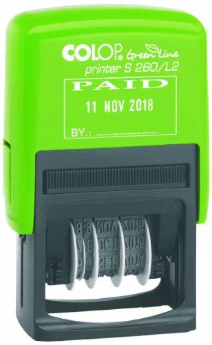 Colop 15560250 - Timbro autoinchiostrante S260/L2 Green Line, con datario e testo'PAID', 45 x 24 mm, colore: blu/rosso
