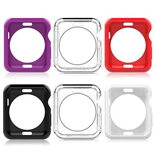 MoKo Hülle für Apple Watch 42mm Series 2, [6 Stück] TPU Schutzhülle Flexible Case Schale Kompletter Schutz Tasche Cover für Apple Watch 42mm 2016 iWatch, Mehrfarbe C