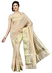 Pavechas Saree with Blouse Piece (MK2733_Beige_One Size)