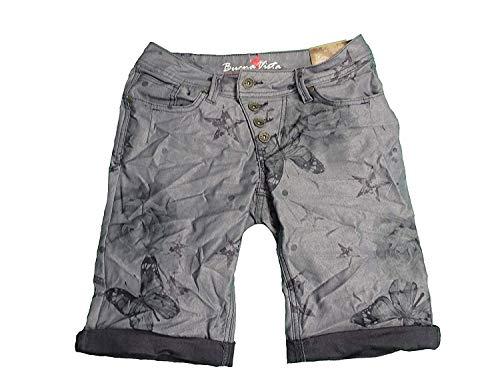 Buena Vista Damen Stretch Jeans Shorts Bermuda Krempelhose Malibu Butterfly weitere Farben (XS, Purple) -