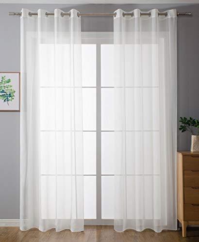 2er-Pack Ösen Gardinen Transparent Vorhang Set Wohnzimmer Voile Ösenvorhang Bleibandabschluß HxB 245x140 cm Weiß, 203322
