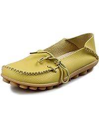 5b2bcb633d98 Eagsouni Damen Mokassins Bootsschuhe Leder Loafers Freizeit Schuhe Flache  Fahren Halbschuhe Slippers