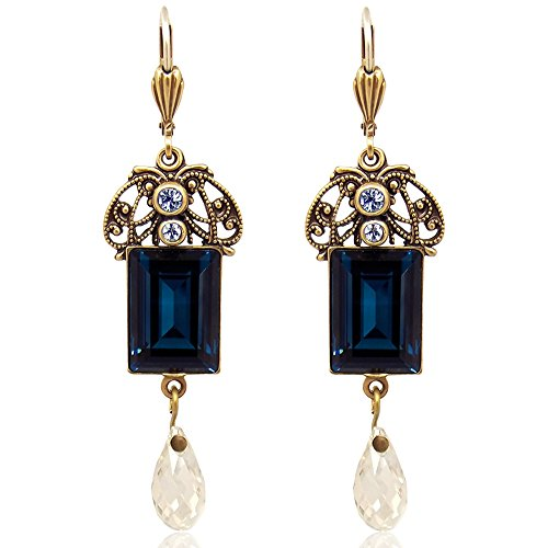 Jugendstil Ohrringe mit Kristallen von Swarovski Blau Gold NOBEL SCHMUCK