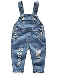 Mengyu Bebé Roto Pantalones de Peto Largos Mono Vaquera Overalls Jeans Pants 8d466bd6736