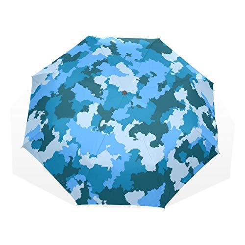 EZIOLY Paraguas de Viaje de Camuflaje Azul Ligero Anti UV Paraguas de