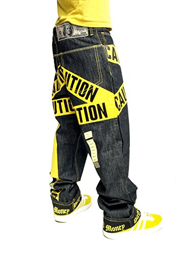 Dirty Money Gelb Caution Jeans Raw Jeans