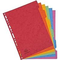 Exacompta - Réf. 89H - Paquet de 6 Intercalaires à Onglets Plastifiés Couleurs - Format A4 - Carte Lustrée 400g/m² - Couleurs Assorties