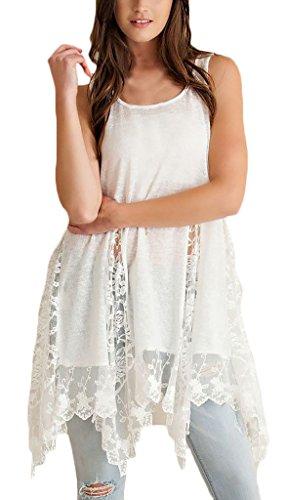 Shirtkleider Frauen Partykleider Ärmellos Rundkragen Spitze Stitching Zum Schnüren Drapiert Dünn Loose Normallacks Freizeitkleid Weiß