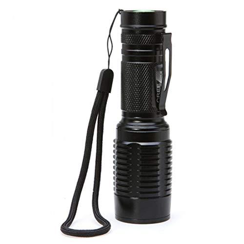 BAOLH USB-Taschenlampe, Einbau Compact Wasserbeständig LED Zoom Außenleuchte Camping Lampen for Aktivitäten Rennen, Hundesitter (Farbe : Schwarz)