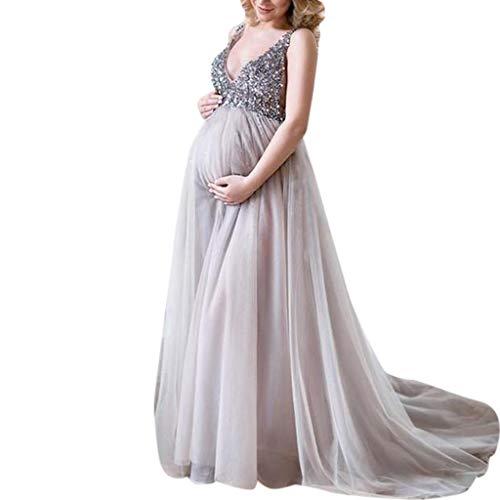 70adf7263 Lenfesh Vestido de Maternidad Larga Vestidos Mujer Fiesta Largos Boda Faldas  de Maternidad Vestidos Fotografía Faldas