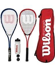 Wilson Auswirkungen Pro Squash Schläger Set + Bälle + Wasserflasche