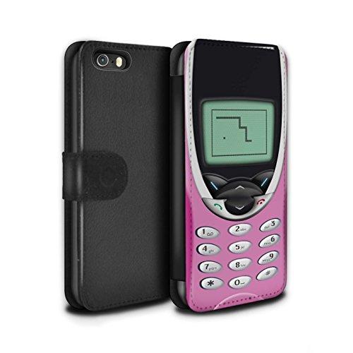 STUFF4 PU-Leder Hülle/Case/Tasche/Cover für Apple iPhone 5/5S / Rosa Nokia 8210 Muster / Vintage Handys Kollektion