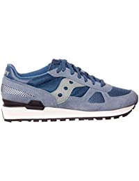 SAUCONY - Basket Shadow 5000 à lacets bleue en cuir, suède et microfibre, logo sur la languette et à l'arrière, garçon, garçons-37