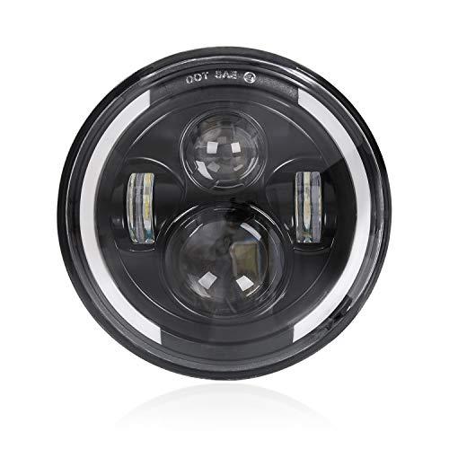"""7"""" LED-Scheinwerfer, Frontscheinwerfer Motorrad Angel Eye Ring DRL & Bernsteinfarbener Blinker H/L-Strahl für Harley Davidson Wrangler"""