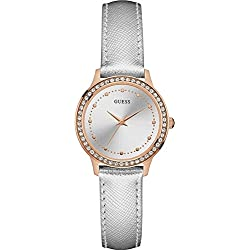GUESS Women's CHELSEA 30mm Silver-Tone Synthetic Leather Band Steel Case Quartz Analog Watch W0648L11