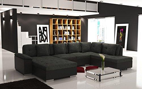 Canapé d'angle panoramique en U de 6 à 7 places SMILE tissu maille noir - gris foncé chiné et contour en simili cuir noir