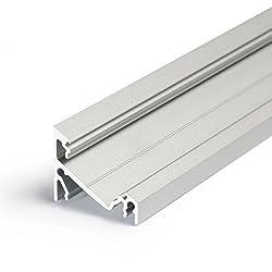 2m Aluprofil CORNER14 (CO14) Ecke 2 Meter Aluminium Eckprofil-Leiste eloxiert für LED Streifen - Set inkl Abdeckung-Schiene milchig-weiß opal mit Montage-Klammern und Endkappen (2 Meter milchig click)